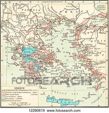 Stock Photograph of Map of Greece at the beginning of the