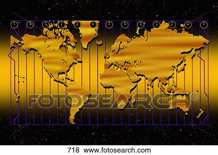 Pictures of world map in gold with time zones and gold background picture world map in gold with time zones and gold background fotosearch search gumiabroncs Images