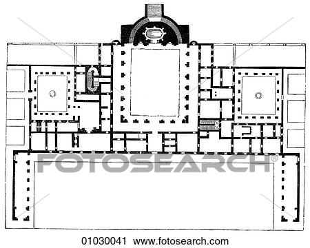 Clipart of architecture italy line art a3 floor plan for Palazzo floor plan