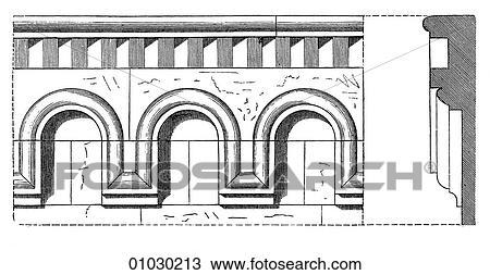 手绘图 建筑学, , 奥地利, , 线艺术, 细节, romanesque, corbel
