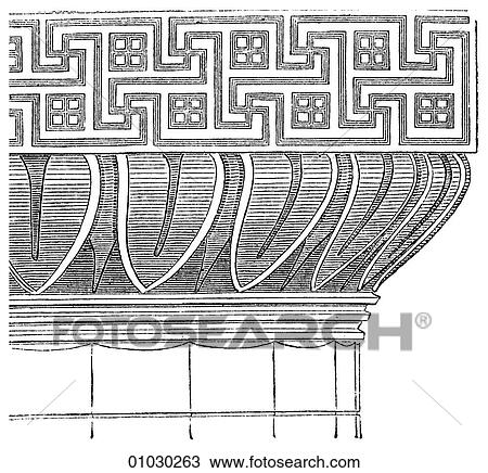 Greek Architecture Drawing drawing of architecture - ancient greece - line art detail