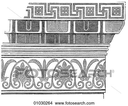 Drawings of Architecture Ancient Greece line art Detail
