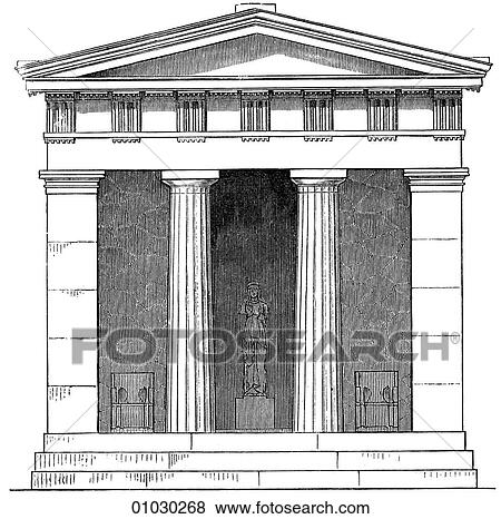 Architecture Ancient Greece Line Art Elevation Classical Temple In