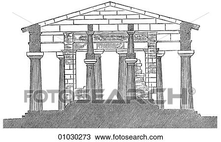 Drawing Of Architecture Ancient Greece Line Art Section Classical