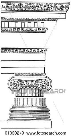Di, architettura greca, è, caratterizzato, vicino, colonna, con