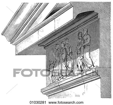 Greek Architecture Drawing clipart of architecture - ancient greece - line art detail