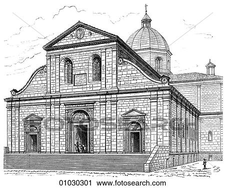 Architecture Italy Line Art Perspective Illustration Renaissance