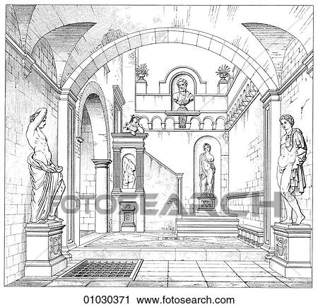 Clipart of architecture italy line art perspective for Architecture classique