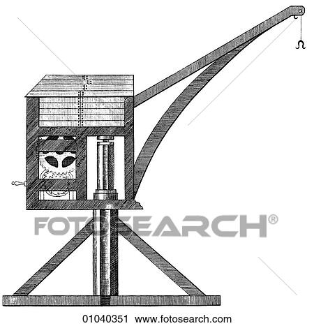 Clipart of Industry & Technology -line art Machinery Crane ...