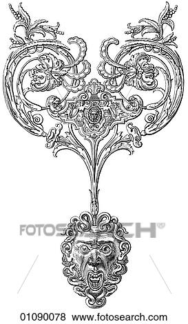 Stock Illustration of Patterns & Motifs - line art Ornament from a ...