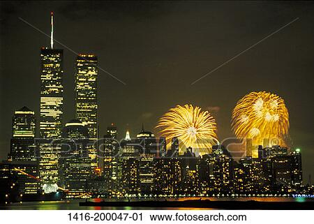Stock Photography of New York City, illuminated view of World ...