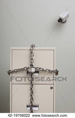 Stock Photo Of Filing Cabinet Locked With Chain And