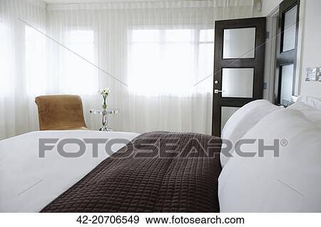 Stockfotografi   soveværelse, hos, fuld længde, transparent ...