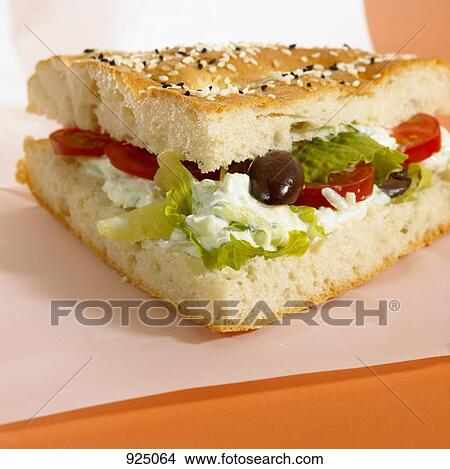 Stock Photo of Pita bread filled with vegetables and soft ...