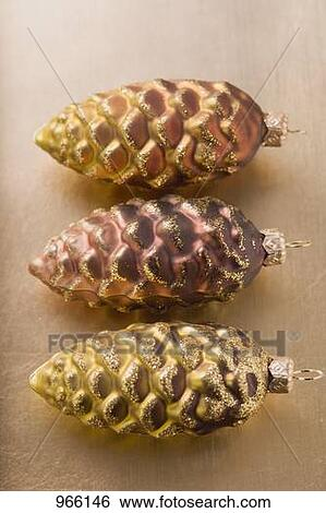 Stock images of three fir cones christmas tree ornaments for Fir cone christmas tree decorations