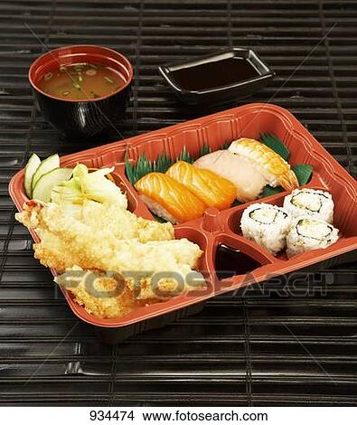 Stock Photo of Shrimp tempura and sushi in bento box 934474 - Search ...