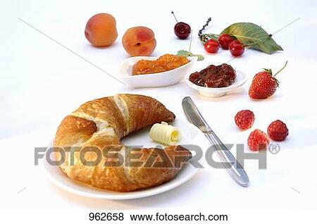 Pictures of Croissant, jam and fresh fruit for breakfast ...