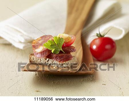Stock images of a chorizo canap 11189056 search stock for Chorizo canape ideas