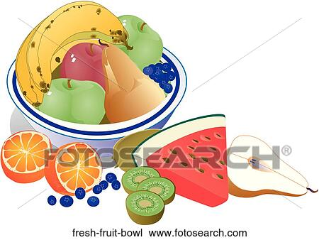 手绘图 新鲜的水果碗