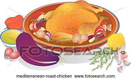 Dessins m diterran en poulet r ti mediterranean roast chicken recherche de clip arts d - Dessin de poulet roti ...