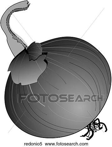 Stock Illustration of Red Onions-One B&W redonio5 - Search ...
