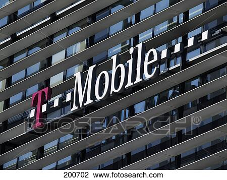 Stock Photo   Signboard On Office Building, T Mobile Building, T Center