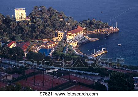 stock photography of high angle view of buildings at coast restaurant la vigie port of. Black Bedroom Furniture Sets. Home Design Ideas
