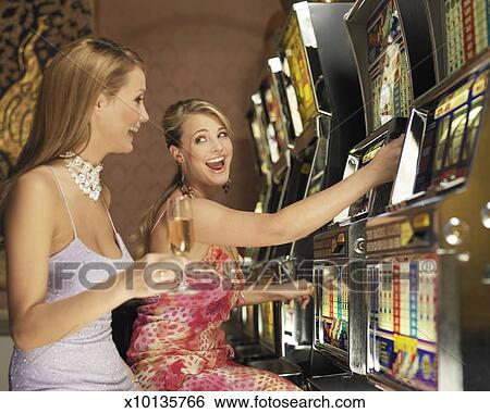 Friends Playing Slot Machine Clip Art