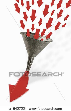 Stock Photography of Small arrows entering funnel and exiting as ...