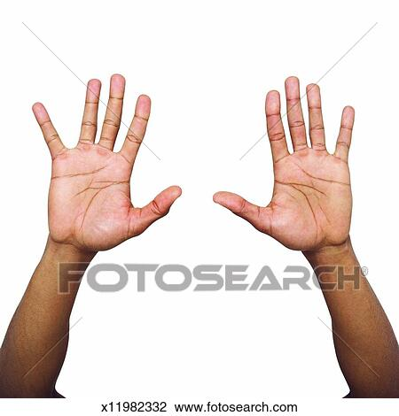 Stock Photo of Close-up of male hand holding two hands up ...