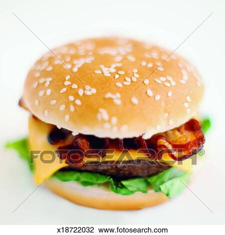 Stock Photo - Close-up of bacon cheeseburger  Fotosearch - Search    Bacon Cheeseburger Clip Art