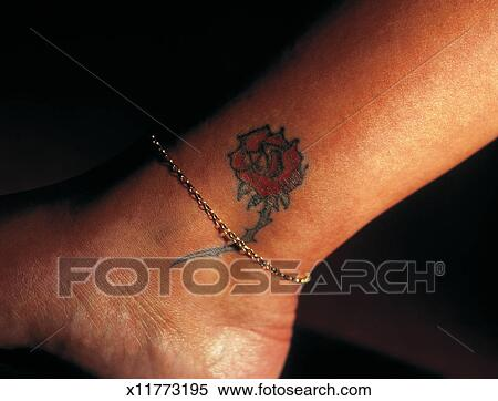 banque d 39 image gros plan de a femme cheville a rose tatouage et une bracelet. Black Bedroom Furniture Sets. Home Design Ideas