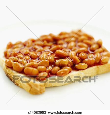 Stock Photo of Close-up of baked beans on toast x14082953 - Search ...