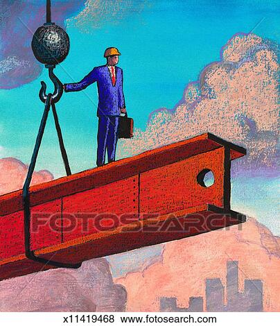 Stock illustration of man at construction site x11419468 for Construction site wall mural