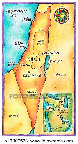 Drawing of Map of Israel x17907573 Search Clipart Illustration