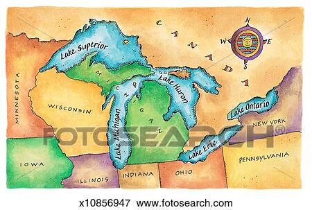 Stock Illustration of Map of the Great Lakes x10856947 Search EPS