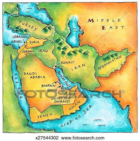 Clip Art of Map of the Middle East x27544302 Search Clipart
