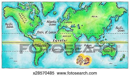 Stock Illustration of Map of the World Equator x28570485