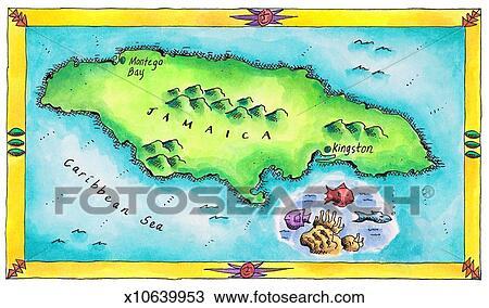 スケッチ - 地図, の, ジャマイカ. Fot... スケッチ - 地図, の, ジャマイカ