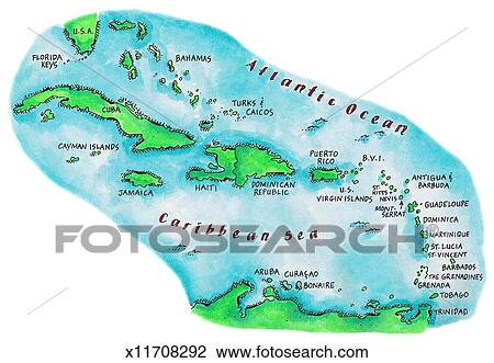 Clip Art of Map of Caribbean Islands x11708292 - Search Clipart ...
