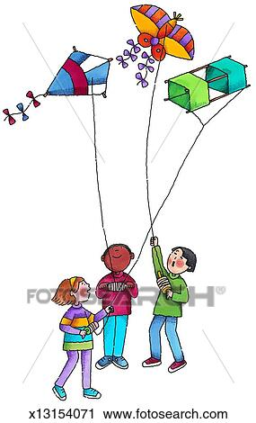 Clipart of Kids Flying Kites x13154071 - Search Clip Art ...
