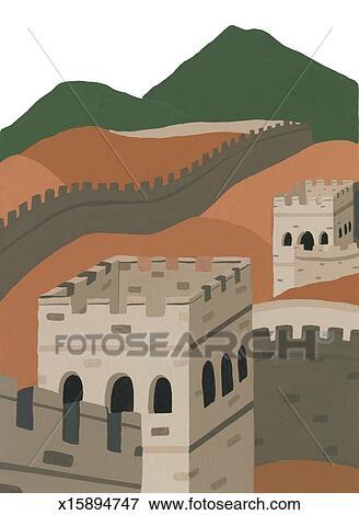 イラスト , 中国 の 万里の長城