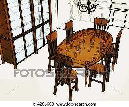 drawing of dining room table x14285603 - search clipart