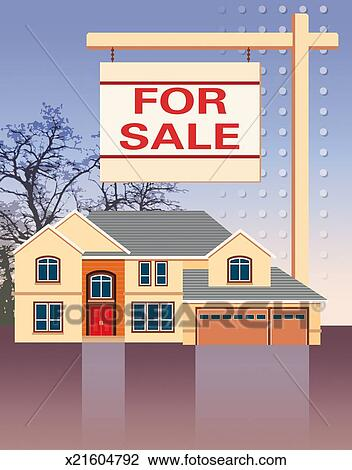 Clip Art of House For Sale x21604792 - Search Clipart ...