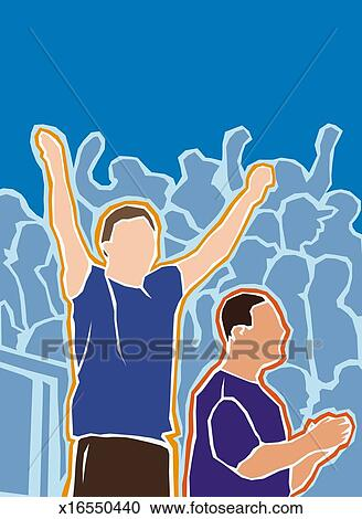 Stock Illustrations of Sports Fans Cheering x16550440 ...