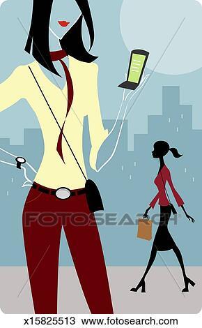 写真素材・動画素材・イラスト素材スケッチ - 若い女性, 保有物, パームトップ・パソコン, 中に, 都市 設定