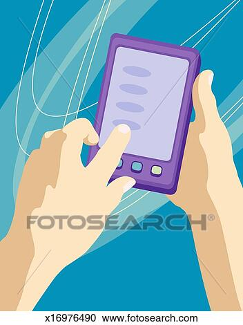 Stock Illustrations of Person using palmtop computer ...