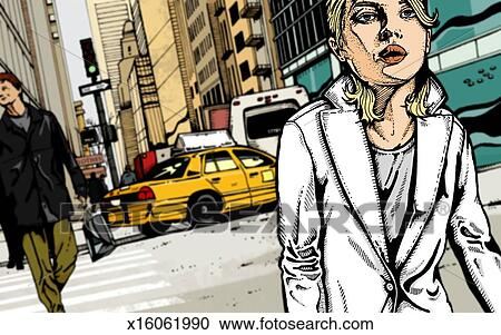 Busy City Clipart Walking Through Busy City