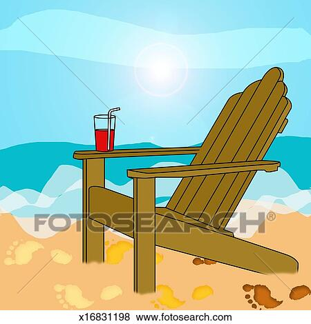 Stock Illustration Of Drink Balanced On Arm Of Deckchair