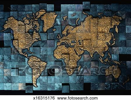 Stock illustration of tile mosaic world map x16315176 search clip stock illustration tile mosaic world map fotosearch search clip art drawings gumiabroncs Images